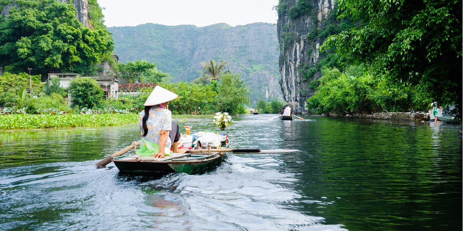 Magiskt flodlandskap i Vietnam.