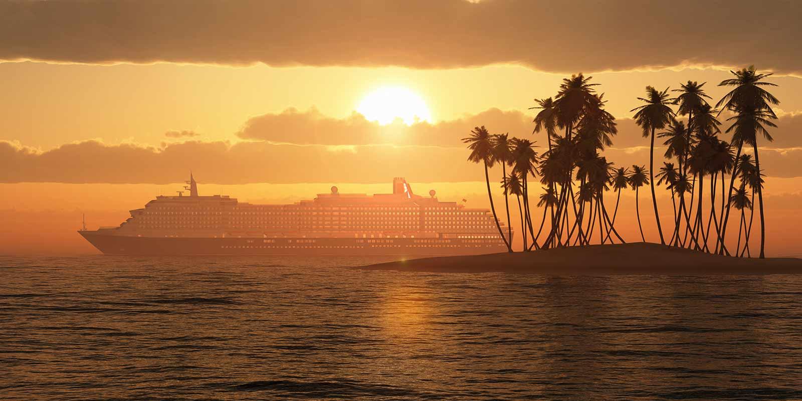 Kryssning i solnedgång