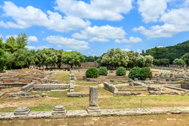 Ruinerna i Olympia i Katakolon Grekland
