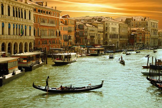 Venedig, Italien, i solnedgång.