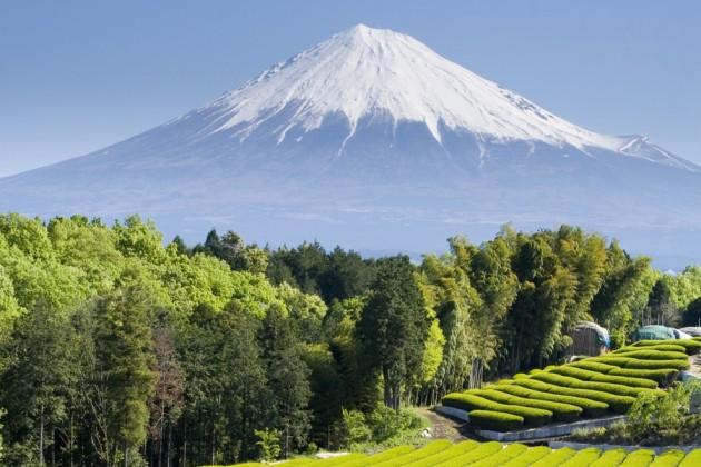Vy över Mount Fujis snöklädda topp, Japan.