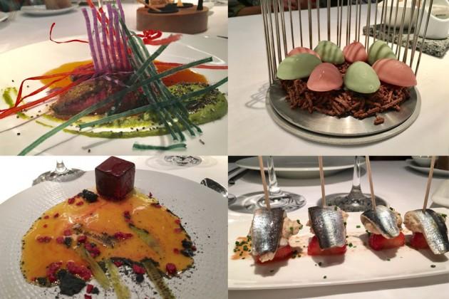 Olika maträtter på Michelinrestaurangen Arzak i San Sebastián i Baskien, Spanien.