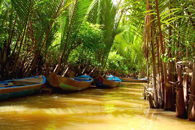 Båtar fastsurrade i en smal del av Mekongdeltat i Laos.