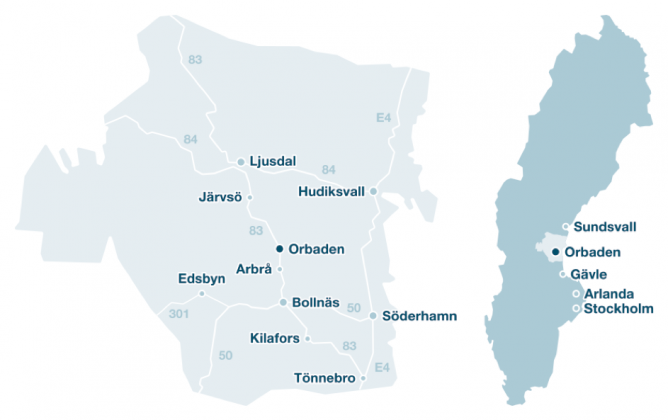 Karta över Hälsingland, Sverige.