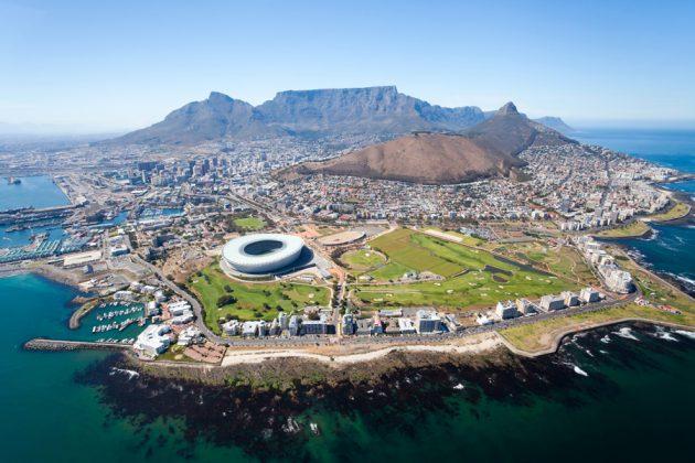 Flygbild över Kapstaden, Sydafrika.