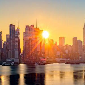 Soluppgång på Manhattan i New York.