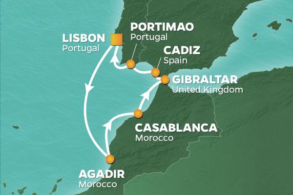 Karta Marocko Spanien Portugal